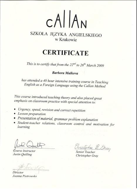 Callan certificate
